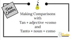 Free and Editable Spanish Task Cards focused on tan+adjective+como and tanto+noun+como. A great way to get kids active about learning! High School Spanish, Elementary Spanish, Spanish Class, Cornerstone University, Cooperative Learning Activities, Bell Work, Study History, English Language Learners, Memory Verse