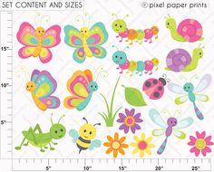 Cute bugs Clipart and Digital Paper Set di pixelpaperprints Decoupage, Spring Painting, Cute Clipart, Quilling Patterns, Applique Designs, Applique Templates, Rock Crafts, Embroidery Applique, Paper Piecing
