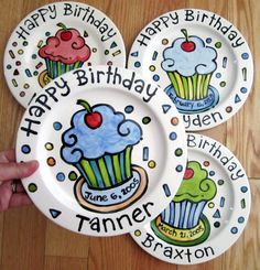 KILN FIRED Happy Birthday cherry cupcake plate personalized and handmade by artzfolk.