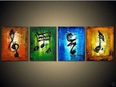 Details about Music art 4 piece Large hand-painted Art Oil Painting Wall Decor