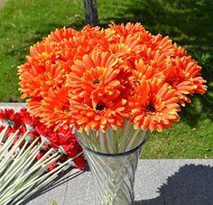 10 PCS Real Touch Latex Silk Artificial fake plastic Daisy Chrysanthemum Flowers Sun Chrysanthemum,Sunflower, Simulation Gerber, Dimorphotheca,Party Room home Decoration DIY Flower Bouquet (orange)