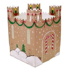 DIY Christmas Castle out of Recycled Cardboard Boxes Forts En Carton, Castle Playhouse, Carton Diy, Cardboard Castle, Cardboard Boxes, Crafts For Kids, Diy Crafts, Candyland, Recycling