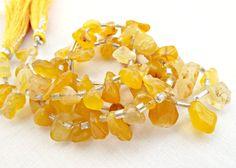 Chalcedony Strand, Yellow Chalcedony Graduated Nuggets, 16in Strand, Chalcedony Gemstone Supplies, UK Seller, Semiprecious Jewelry Stones