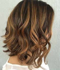 Brunette+Lob+With+Caramel+Highlights