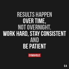 Results happen over time, not overnight. Work hard, stay consistent and be patient.