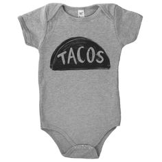 Taco Baby Onesie This is my newest illustrated design, hand-printed onto ultra soft t-shirts. The ink I use is a Japanese water-based brand that is eco-friendly, permanent and durable. Here are some f