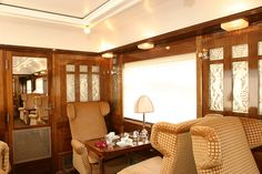 Pullman Orient Express - Fleche d'Or, interior: The 'secret' Orient Express formed of genuine heritage cars is based in Paris and is used exclusively by SNCF French railways for its supported charites and for its own corporate use. The Pullman Orient Express is an authentic train in the style of the genuine Orient Express. The decor, staff uniforms and cuisine are faithful to the original 1920s / 1930s trains.