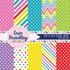 Beach Days Digital Paper Pack with Chevron Stripes and Polka Dotted Patterns