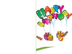 Say Happy Birthday with this free printable Balloon Happy Birthday Card!