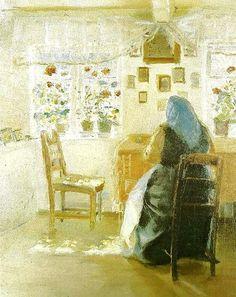 Anna Ancher (Danish painter, 1859-1935) Sunshine in a Room 1921
