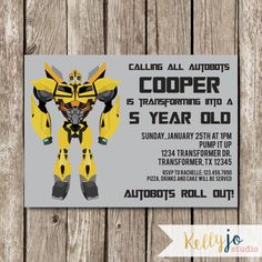 Bumblebee Transformers Birthday Invitation by KellyJoStudio