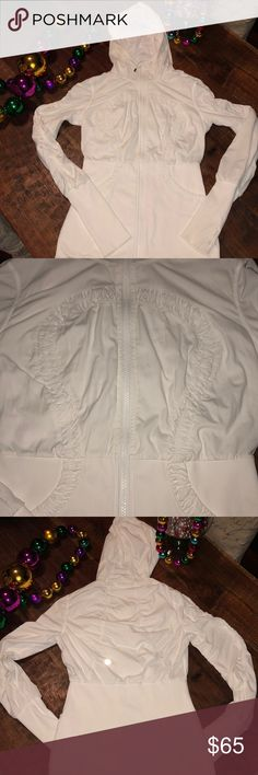 LULULEMON Reversible Inner Peace Jacket One side has light pinstriped pattern similar to look & feel of Studio Dance Pants. I only wore it with that side out so the other, softer side shows some wear but zero pilling. Only flaw is I pulled out the string by the neck. Very Good Condition lululemon athletica Jackets & Coats
