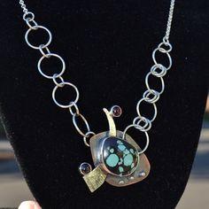 Turquoise Copper Sterling and Fine Silver by jimscheradella