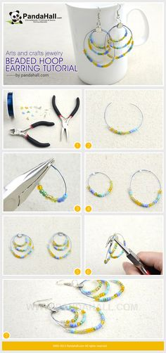 This beaded hoop earring tutorial aims at introducing you this piece of arts and crafts jewelry; simple copper wire and various seed beads make up this beautiful pair.