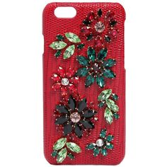 Dolce & Gabbana Women Embellished Leather Iphone 6 Case (6 205 ZAR) ❤ liked on Polyvore featuring accessories, tech accessories and red
