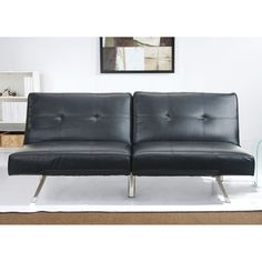 ABBYSON LIVING Aspen Black Leather Foldable Futon Sleeper Sofa Bed - Overstock™ Shopping - Great Deals on Abbyson Living Futons
