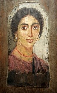 Fayum mummy portrait of a Roman woman.