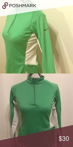 Nike top Great work out top. Built in bra. Green with thumbholes Nike Tops