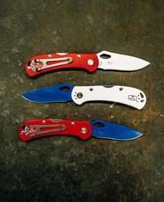 Happy 4th of July from the Buck Knives family! We're big fans of the red, white and blue. We built these 722 SpitFires in our Custom Knife Shop. You can design your own and we'll build it in our Post Falls, Idaho factory just for you. Can Design, Design Your Own, Happy 4 Of July, 4th Of July, Buck Knives, Camping Survival, Idaho, Fans, Just For You