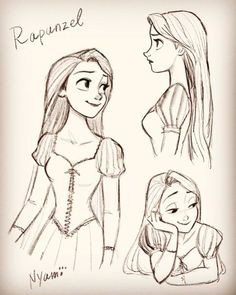 Rapunzel sketch drawings from Disney's Tangled Disney Drawings Sketches, Disney Princess Drawings, Disney Princess Art, Disney Rapunzel, Cartoon Drawings, Cartoon Art, Cute Drawings, Drawing Sketches, Drawing Drawing