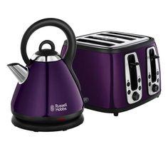 purple toaster and kettle. Small Kitchen Appliances, Cool Kitchens, Purple Toaster, Traditional Kettles, Kettle And Toaster, Russel Hobbs, Purple Kitchen, Purple Interior, Purple Home