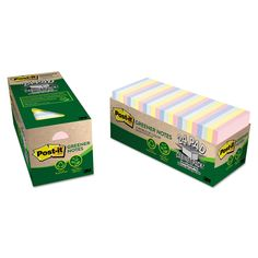 Post-it Greener Notes Recycled Note Pad Cabinet Pack, 3 x 3, Assorted Helsinki Colors, 75-Sheet, 24/PK, Multi Color