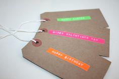 Old school label maker neon & kraft gift tags from Ladylike Len.