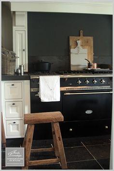 Gorgeous Black and White Kitchen, Scrub Wood Accents