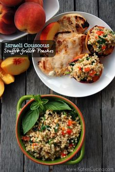 Israeli Couscous Stuffed Grilled Peaches - from Katie's Cucina