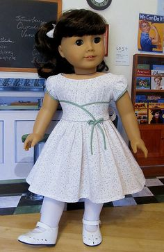 Samantha Parkington upper ponytail white tights, white Mary Jane shoes bodice has front wide waistband edged in bias trim, upper bodice Sewing Doll Clothes, Girl Doll Clothes, Doll Clothes Patterns, Girl Dolls, Ag Dolls, New American Girl Doll, American Doll Clothes, Frocks For Girls, Kids Frocks