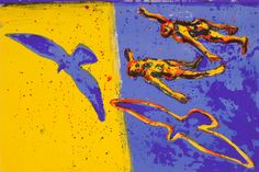 Frans Widerberg - Fargelitografi fra mappen Jord, liv, himmel