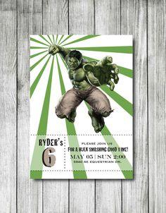 Incredible Hulk Printable Birthday Invitation by DanaCraun on Etsy