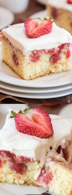 This Strawberries and Cream Poke Cake from Like Mother Like Daughter starts with a cake mix that gets filled with a fresh and sweet homemade strawberry sauce!