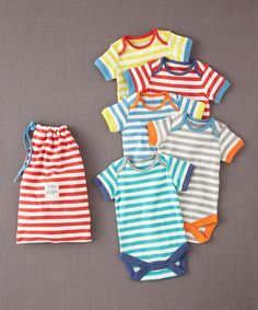 Take a look at this Rainbow Stripe Bodysuit Set - Infant by Mini Boden on #zulily today!