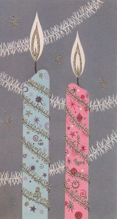 Vintage Christmas Card blue & pink candles--I could make this using wrapping paper and silver gel pen :)