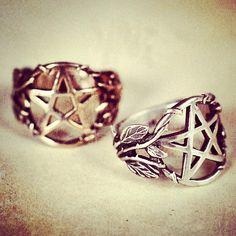 Whimsical Viney Pentagram Rings by Pamela Love