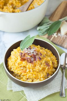 Butternut Squash Risotto with Bacon, Maple and Sage - Rethink rice by adding seasonal fall flavors to risotto! Butternut squash, bacon, maple and sage perfectly complement the creamy texture of Arborio rice and create a unique and flavorful meal!