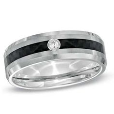 Triton Men's Diamond Accent Carbon Fiber and Tungsten Comfort Fit Wedding Band - Save on Select Styles - Zales