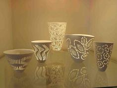 John Shirley. Pierced and cut bone-china at Kim Sacks Gallery Nov 2012