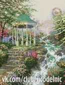 ДОМИКИ, ДВОРИКИ Gazebo, Plants, Cross Stitch, Cross Stitch Landscape, Crochet Edgings, Scenery, Kiosk, Pavilion, Plant