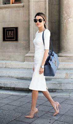 White midi dress, white sheath dress, office fashion, work fashion, fashion b White Sheath Dress, White Midi Dress, Sheath Dresses, Office Fashion, Work Fashion, Corporate Fashion Office Chic, Classic Fashion, Fashion Fashion, Street Fashion
