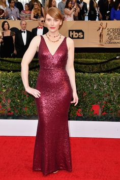 Bryce Dallas Howard looked sexy as always in a ruby red glittering gown that hugged every inch of her curvaceous body. (Photo by Steve Granitz/WireImage)  via @AOL_Lifestyle Read more: https://www.aol.com/article/entertainment/2017/01/29/sag-awards-2017-red-carpet-arrivals/21702677/?a_dgi=aolshare_pinterest#fullscreen