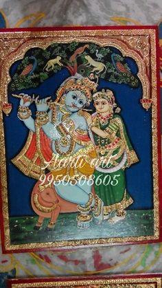 Tanjore paintings without antique Tanjore radhe krishna tanjore vishnu Tanjore nandi shiva parvati . Tanjore Painting, Painted Chairs, Radhe Krishna, Shiva, Paintings, Traditional, Antiques, Art, Painted High Chairs
