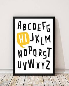 abc... hi - hand-pulled original screen print. Perfect wall art for a nursery or kids room.