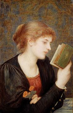 """Love Sonnets, 1894, Marie Spartali Stillman (1844-1927), Watercolor and bodycolor on paper, mounted on wood panel, 17 3/8"""" x 11"""", Delaware Art Museum"""