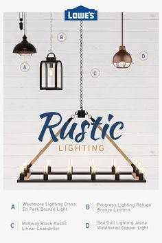 Explore rustic lighting options for any budget and every room ideas remodeling ideas dark cabinets ideas dream ideas apartment ideas white kitchen ideas Rustic Lighting, House Design, Farmhouse Decor, Ceiling Lights, Remodel, Home Remodeling, Lights, Rustic Ceiling Lights, Rustic House