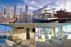 """O de Squisito"" ...  Location: Dubai  Price: N/A  Bedrooms: 2  Bathrooms: 2  Length: approx. 65 feet    This architectural houseboat is constructed from two catamaran beams, stainless steel and glass from the Dubai firm X-Architects in collaboration with its owner."