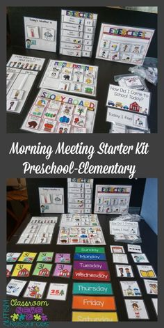 All the visual supports you need to get morning meeting off the ground for early childhood and special education.  Calendar, song boards, exercise board, weather, emotions, a schedule, days of the week and more. $