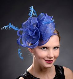 Royal blue fascinator hat for weddings Ascot Derby by MargeIilane