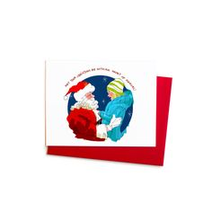New to anopensketchbook on Etsy: Meeting Santa Claus Christmas Card Little Girl at Christmas Single Greeting Card with Hand Typography (4.50 USD)